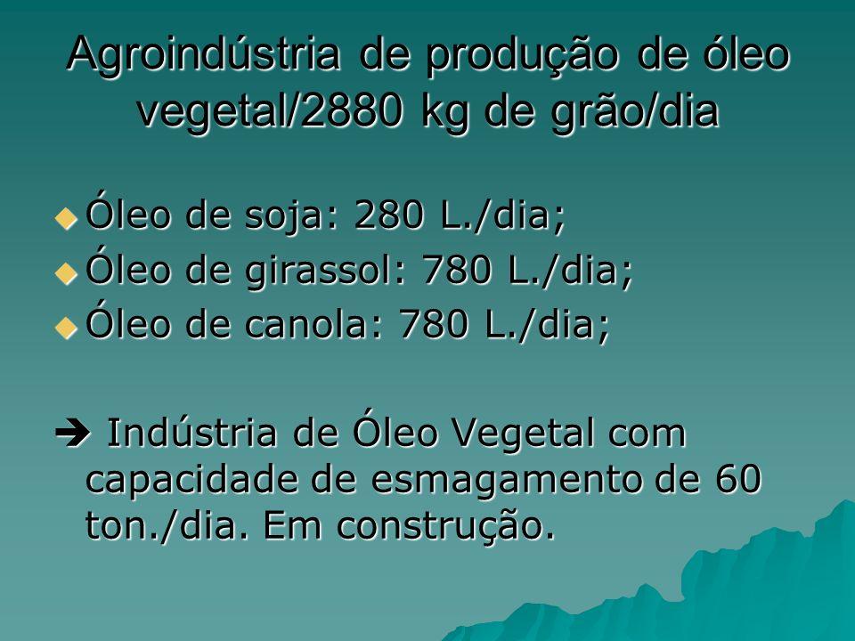 Agroindústria de produção de óleo vegetal/2880 kg de grão/dia