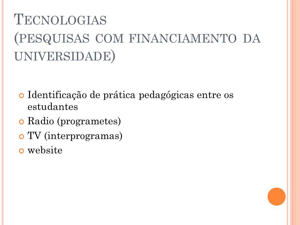 Tecnologias (pesquisas com financiamento da universidade)