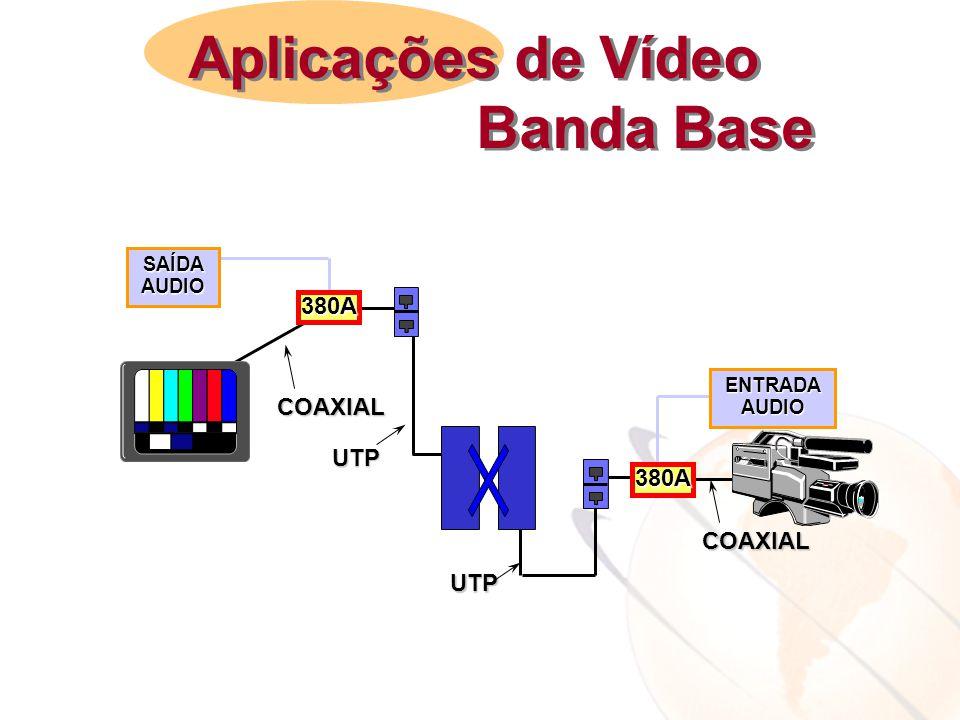 Aplicações de Vídeo Banda Base 380A UTP COAXIAL SAÍDA AUDIO ENTRADA