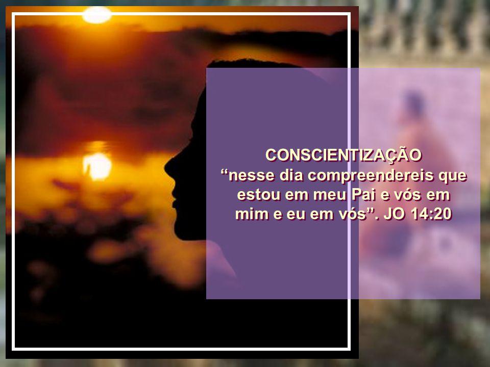 CONSCIENTIZAÇÃO nesse dia compreendereis que estou em meu Pai e vós em mim e eu em vós . JO 14:20