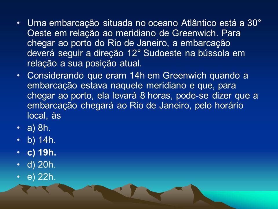 Uma embarcação situada no oceano Atlântico está a 30° Oeste em relação ao meridiano de Greenwich. Para chegar ao porto do Rio de Janeiro, a embarcação deverá seguir a direção 12° Sudoeste na bússola em relação a sua posição atual.