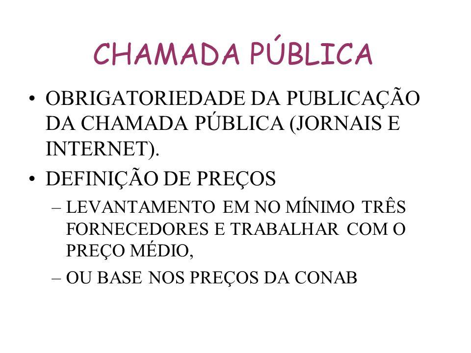 CHAMADA PÚBLICA OBRIGATORIEDADE DA PUBLICAÇÃO DA CHAMADA PÚBLICA (JORNAIS E INTERNET). DEFINIÇÃO DE PREÇOS.