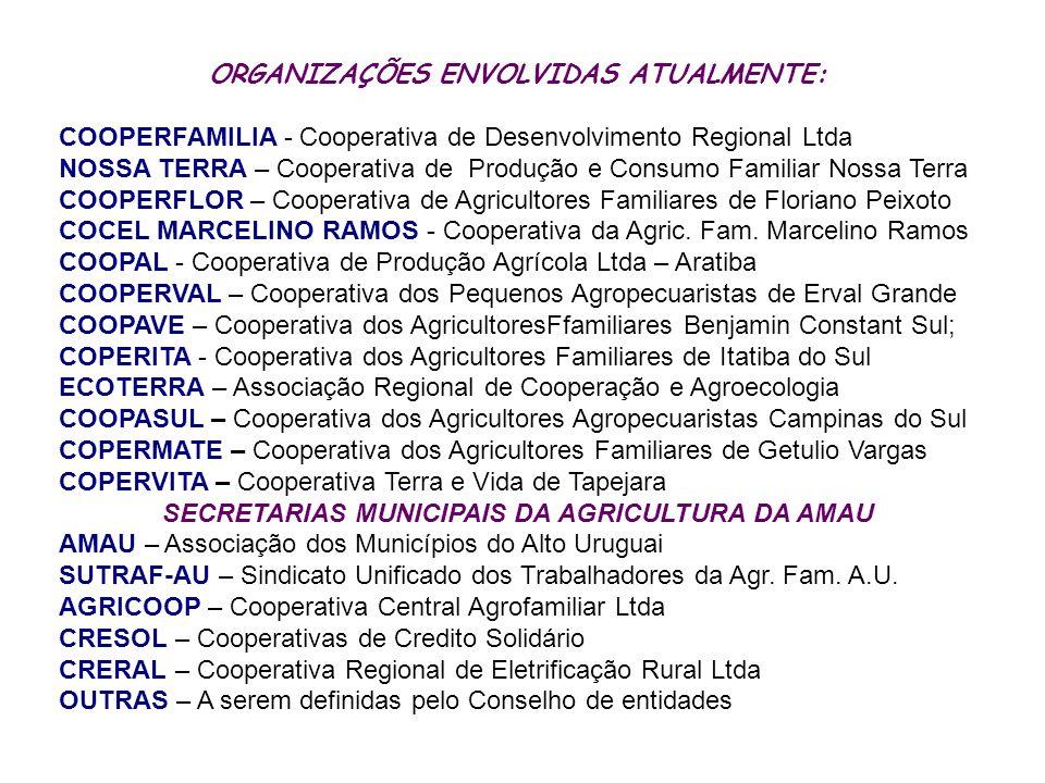 ORGANIZAÇÕES ENVOLVIDAS ATUALMENTE: