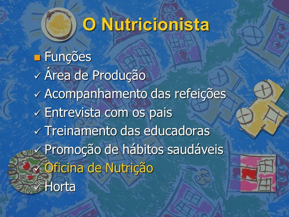 O Nutricionista Funções Área de Produção Acompanhamento das refeições