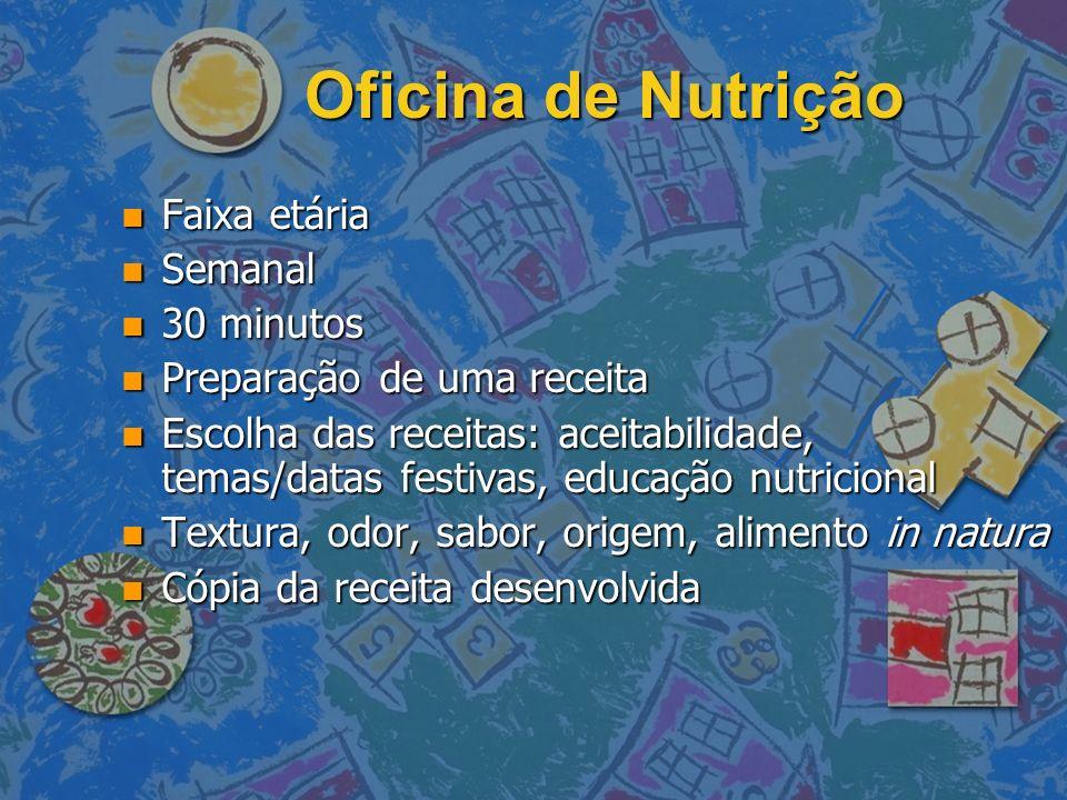 Oficina de Nutrição Faixa etária Semanal 30 minutos