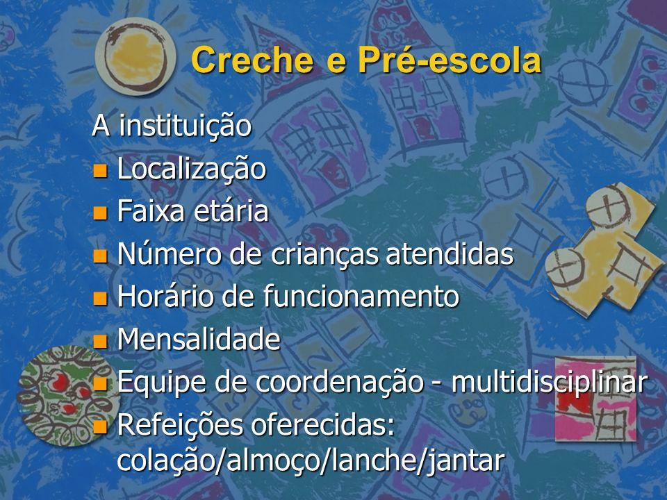 Creche e Pré-escola A instituição Localização Faixa etária