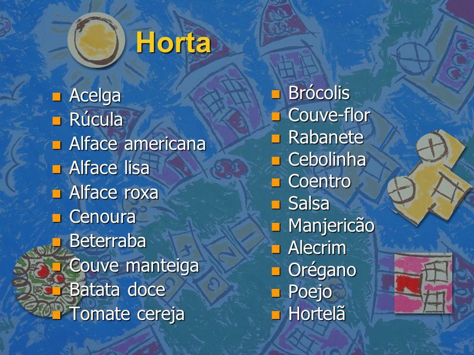 Horta Acelga Rúcula Alface americana Alface lisa Alface roxa Cenoura