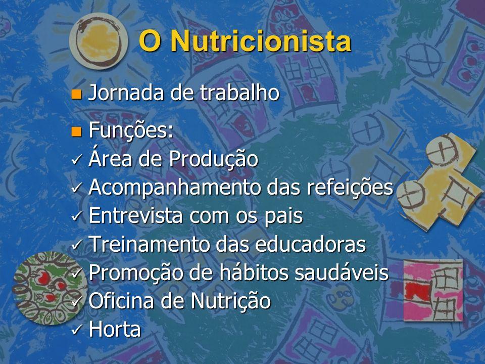 O Nutricionista Jornada de trabalho Funções: Área de Produção