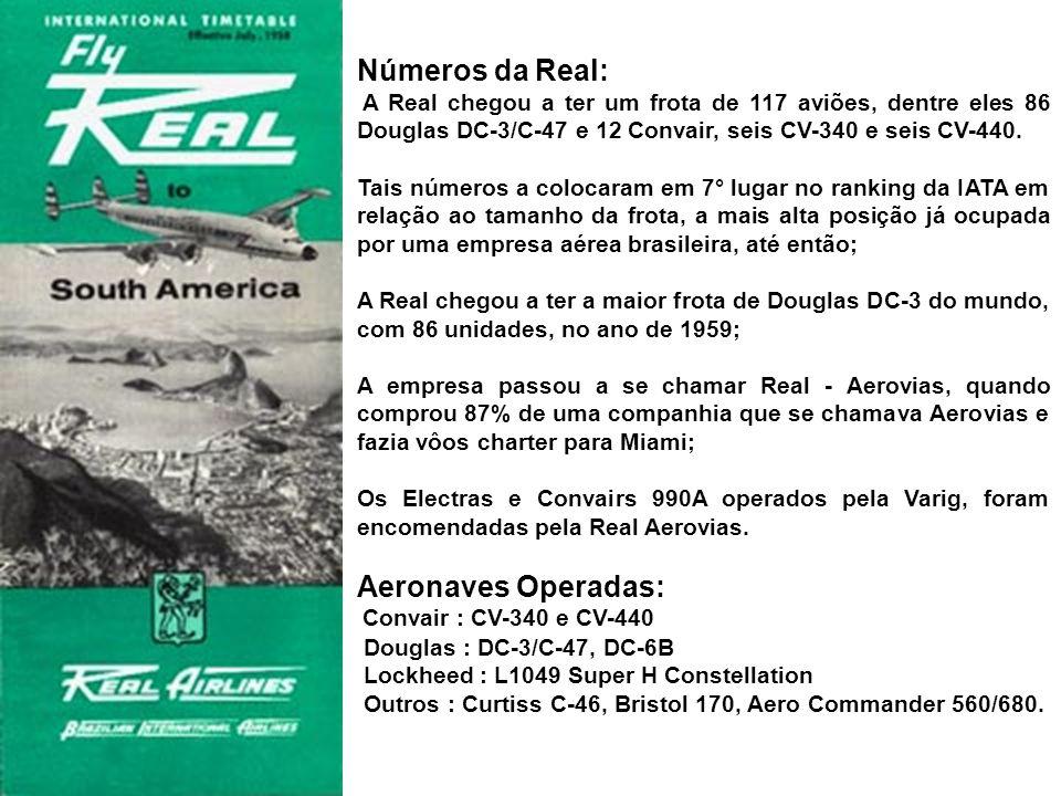 Números da Real: Aeronaves Operadas: