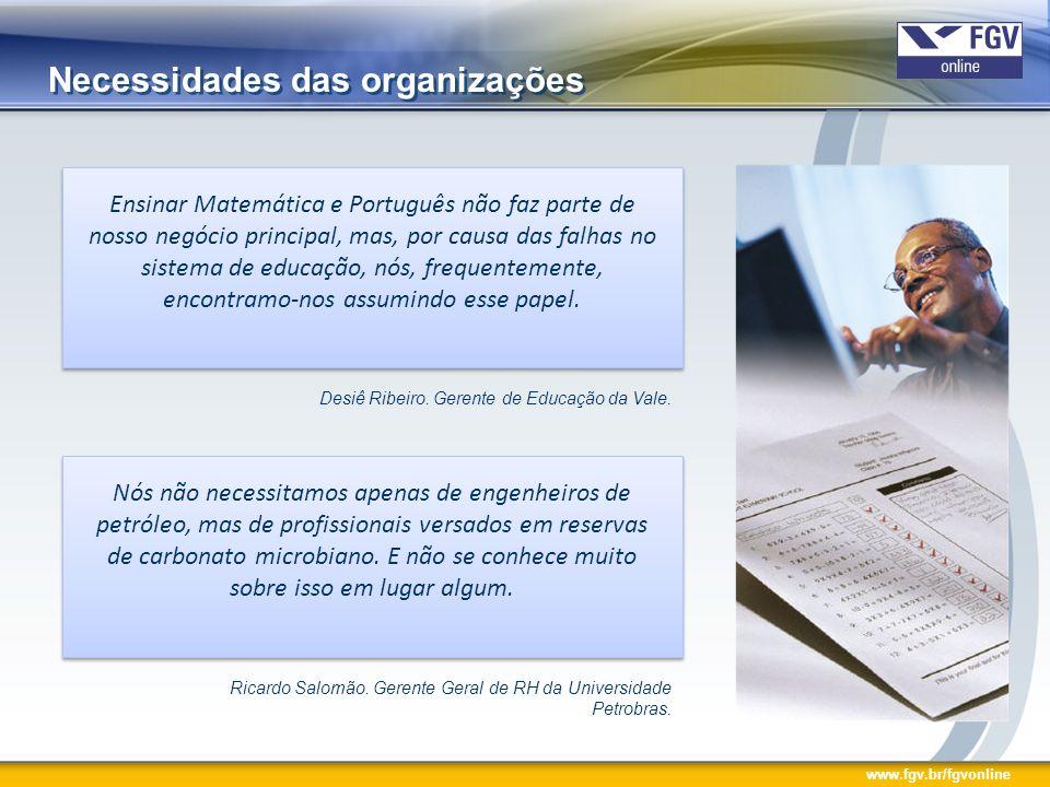 Necessidades das organizações