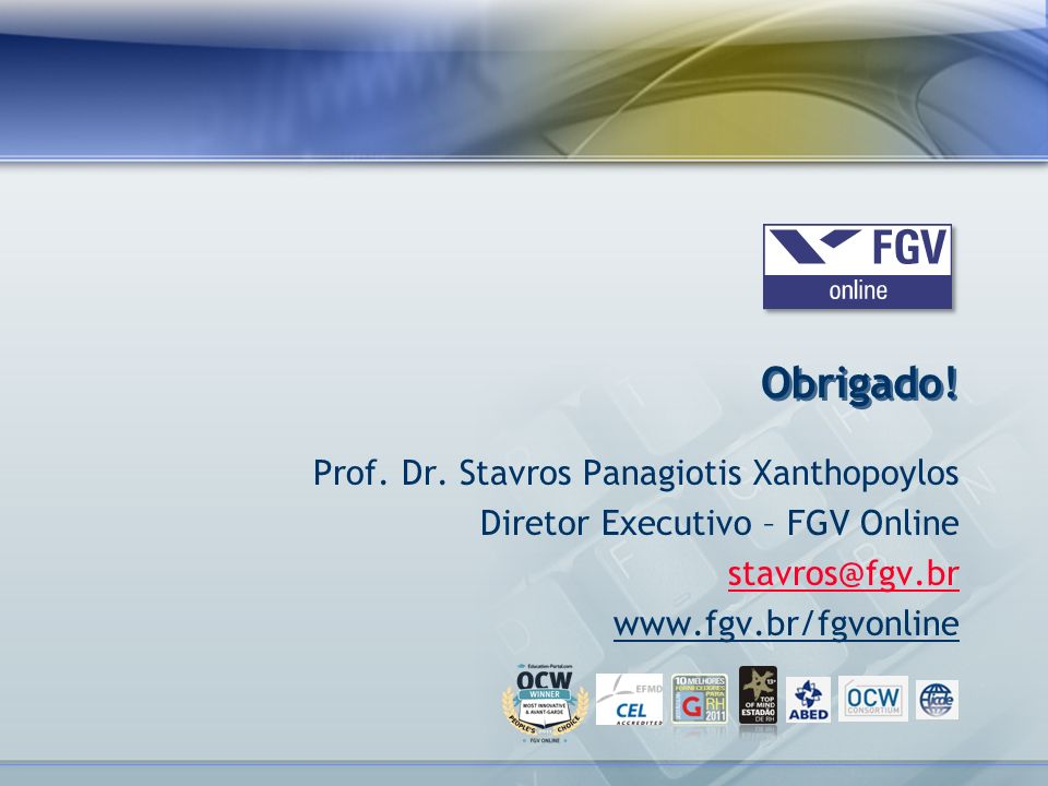 Obrigado! Prof. Dr. Stavros Panagiotis Xanthopoylos