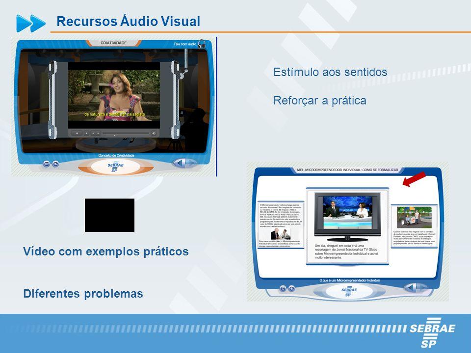 Recursos Áudio Visual Estímulo aos sentidos Reforçar a prática