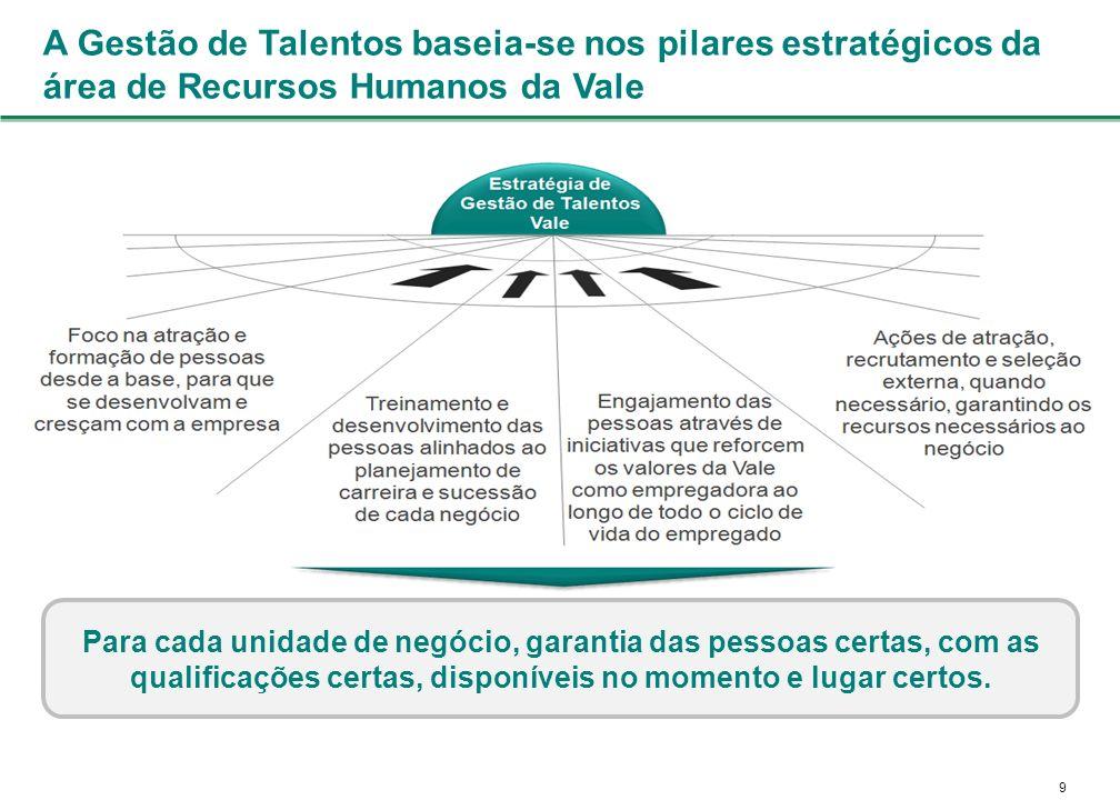 A Gestão de Talentos baseia-se nos pilares estratégicos da área de Recursos Humanos da Vale