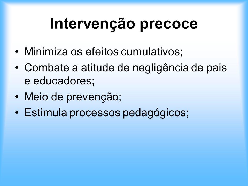 Intervenção precoce Minimiza os efeitos cumulativos;