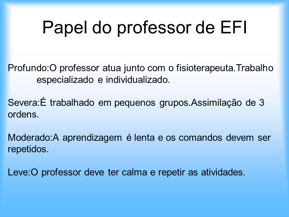 Papel do professor de EFI