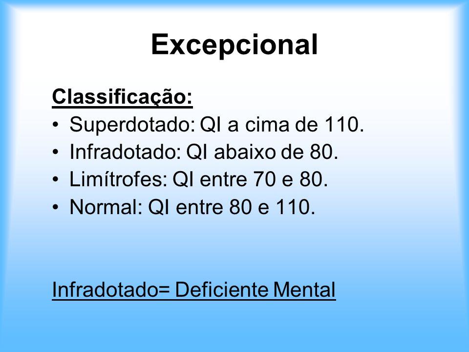 Excepcional Classificação: Superdotado: QI a cima de 110.
