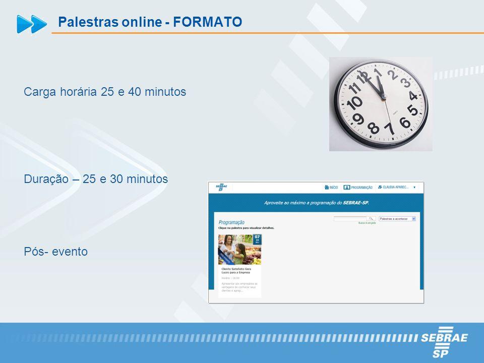 Palestras online - FORMATO