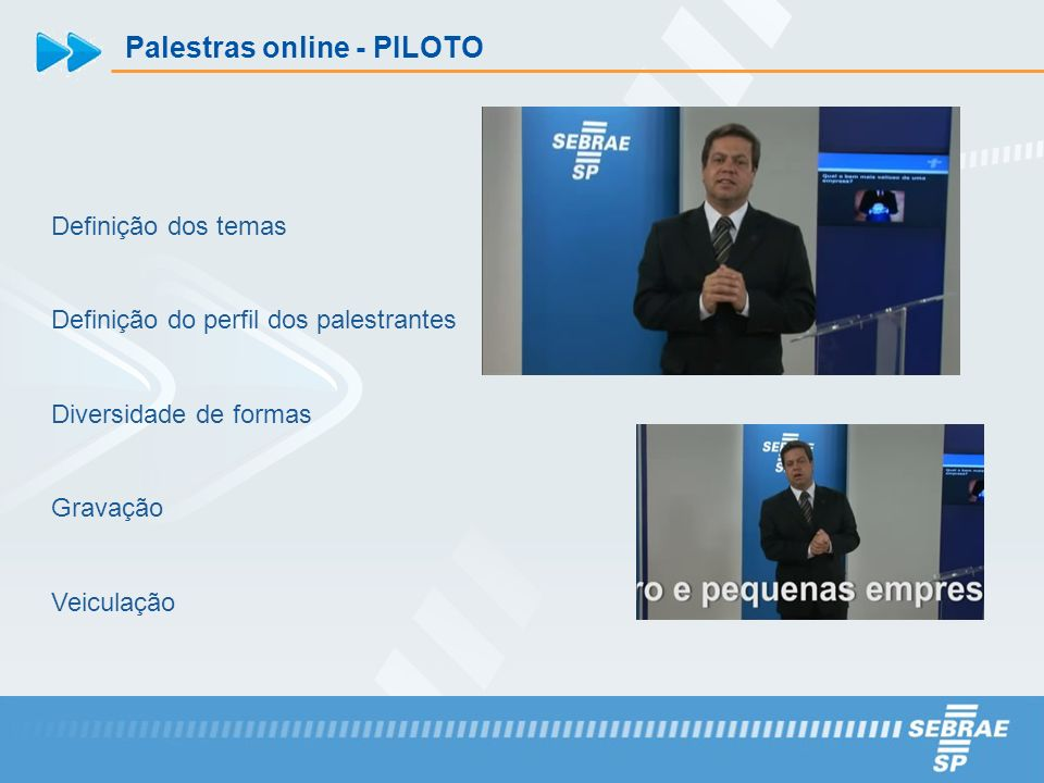 Palestras online - PILOTO