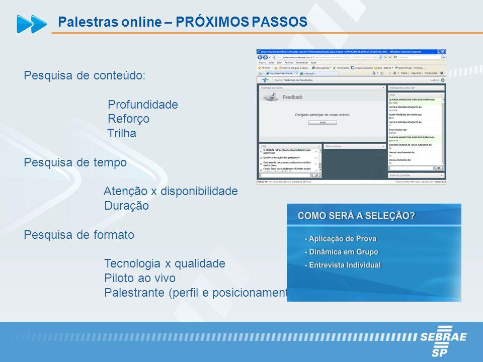 Palestras online – PRÓXIMOS PASSOS