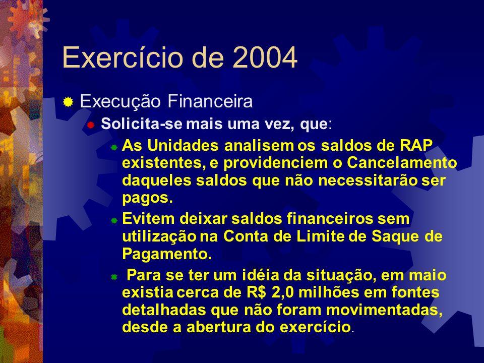 Exercício de 2004 Execução Financeira Solicita-se mais uma vez, que: