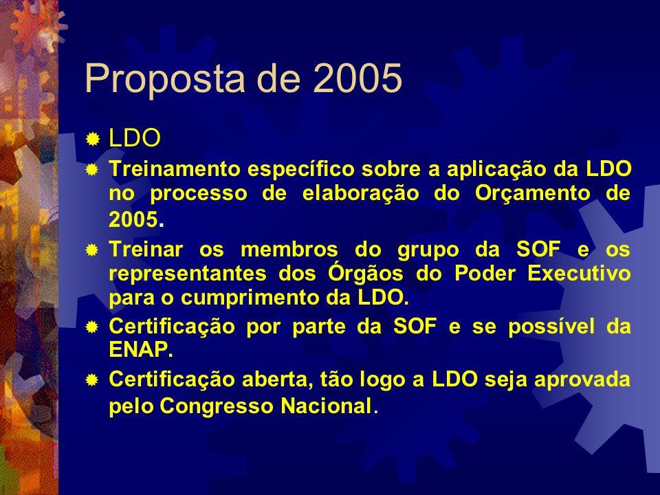 Proposta de 2005 LDO. Treinamento específico sobre a aplicação da LDO no processo de elaboração do Orçamento de 2005.