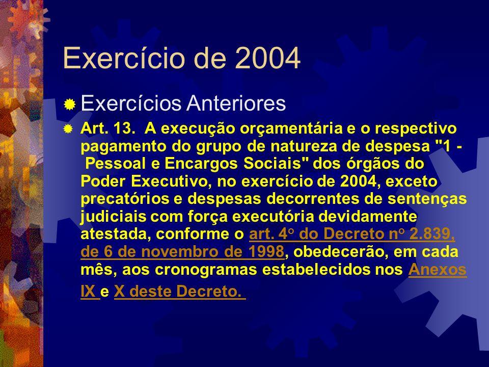 Exercício de 2004 Exercícios Anteriores