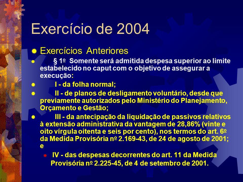 Exercício de 2004 Exercícios Anteriores I - da folha normal;
