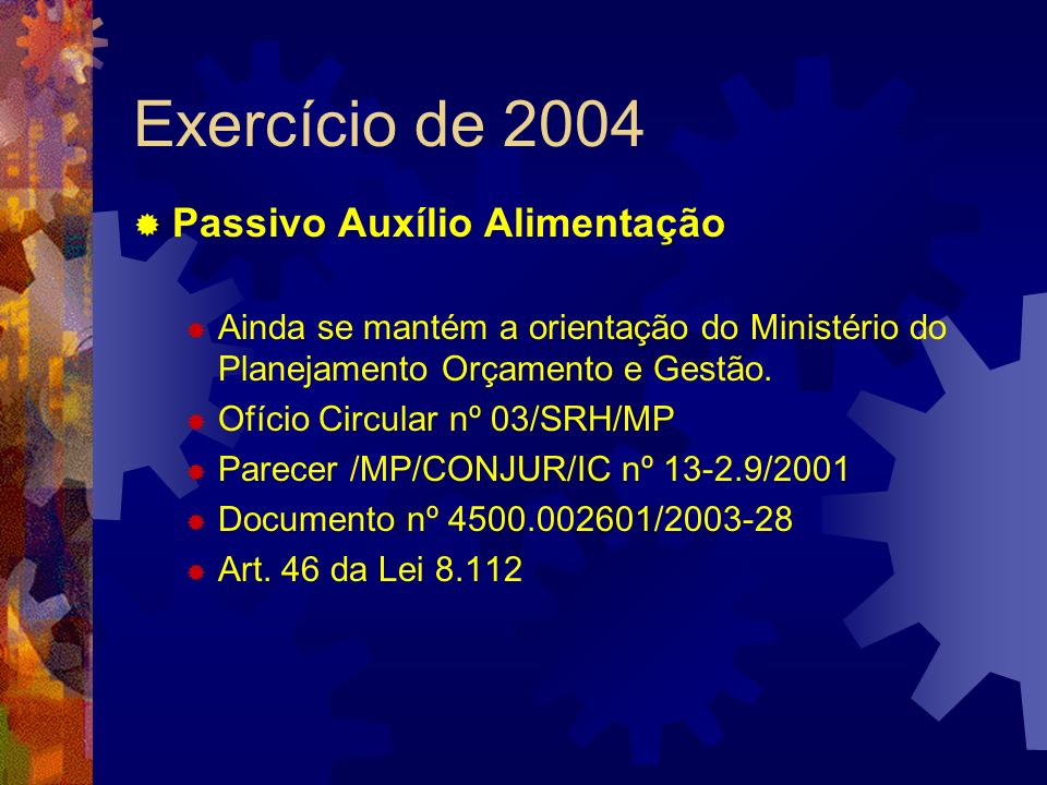 Exercício de 2004 Passivo Auxílio Alimentação