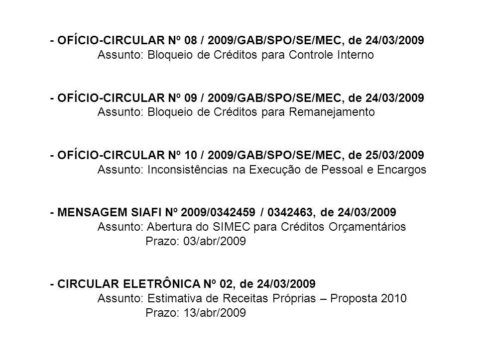 - OFÍCIO-CIRCULAR Nº 08 / 2009/GAB/SPO/SE/MEC, de 24/03/2009