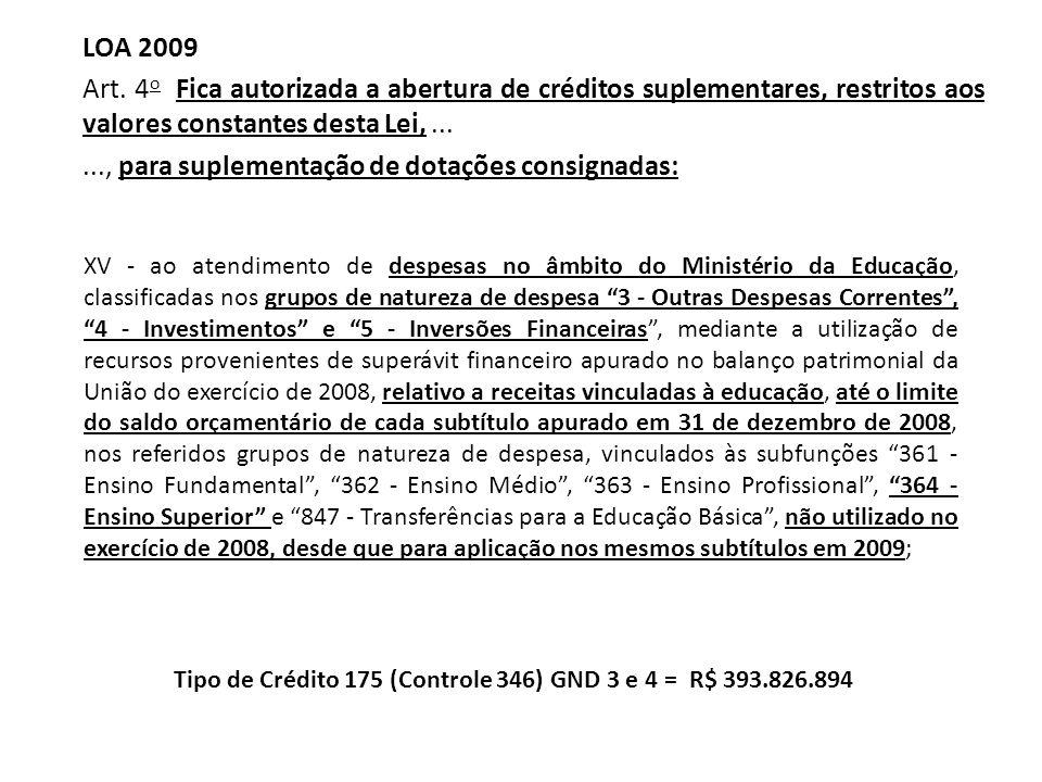..., para suplementação de dotações consignadas: