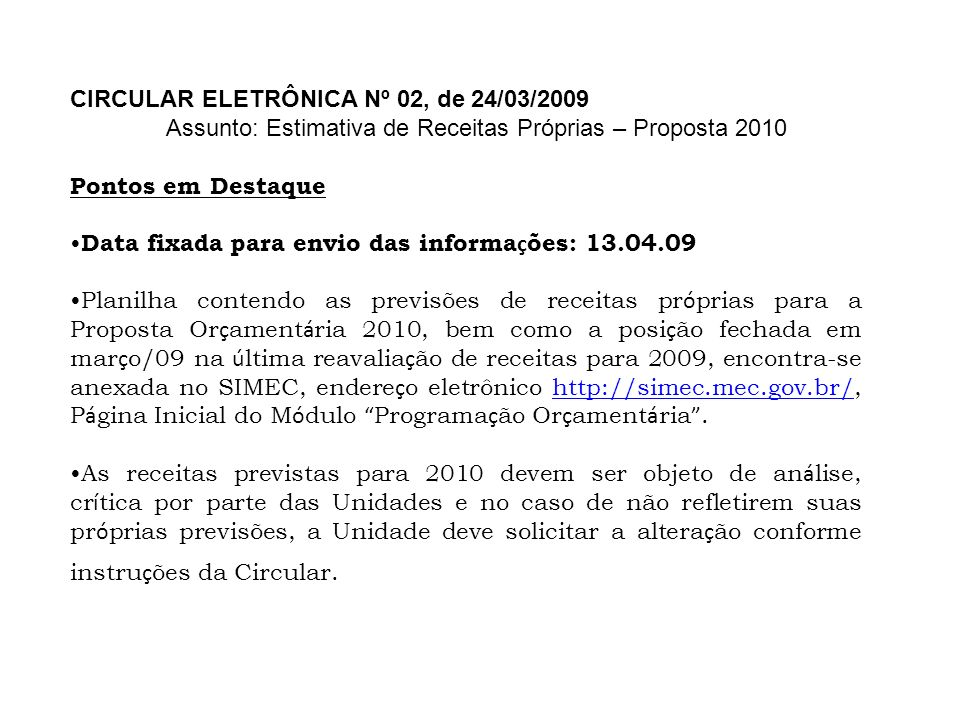 CIRCULAR ELETRÔNICA Nº 02, de 24/03/2009