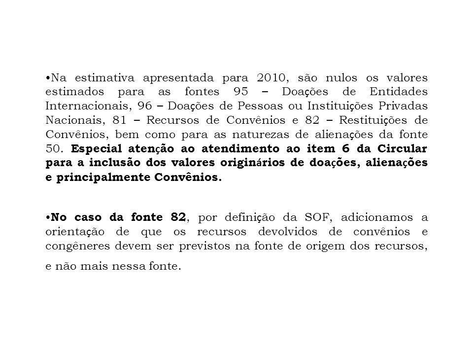 Na estimativa apresentada para 2010, são nulos os valores estimados para as fontes 95 – Doações de Entidades Internacionais, 96 – Doações de Pessoas ou Instituições Privadas Nacionais, 81 – Recursos de Convênios e 82 – Restituições de Convênios, bem como para as naturezas de alienações da fonte 50. Especial atenção ao atendimento ao item 6 da Circular para a inclusão dos valores originários de doações, alienações e principalmente Convênios.