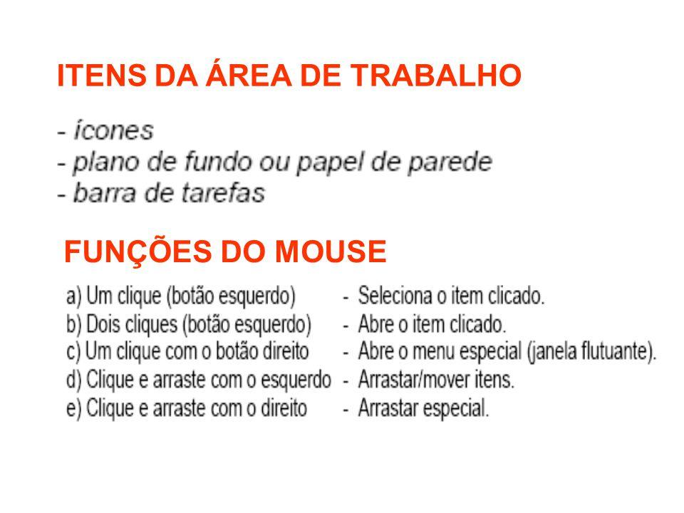 ITENS DA ÁREA DE TRABALHO