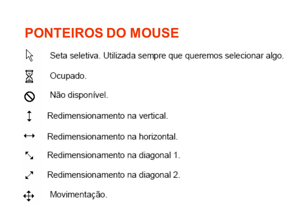 PONTEIROS DO MOUSE