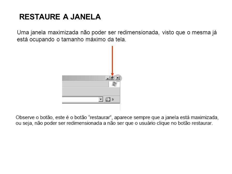 RESTAURE A JANELA Uma janela maximizada não poder ser redimensionada, visto que o mesma já está ocupando o tamanho máximo da tela.