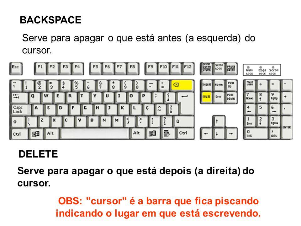 BACKSPACE Serve para apagar o que está antes (a esquerda) do cursor. DELETE. Serve para apagar o que está depois (a direita) do cursor.