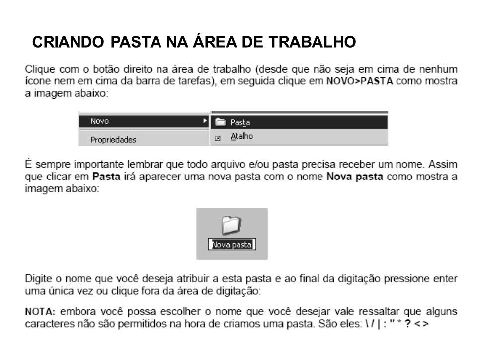CRIANDO PASTA NA ÁREA DE TRABALHO