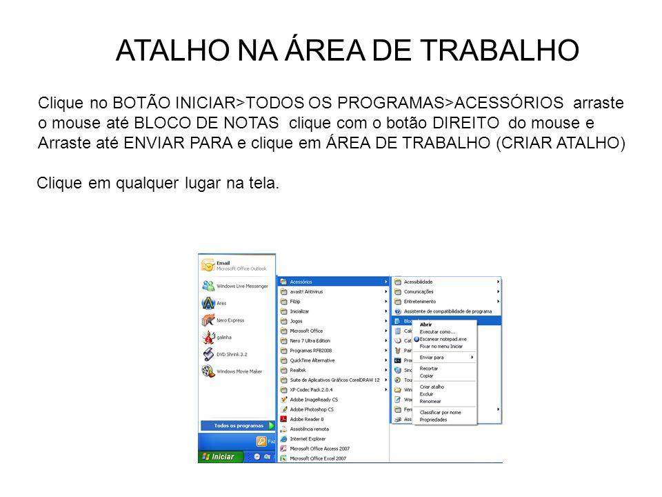 ATALHO NA ÁREA DE TRABALHO