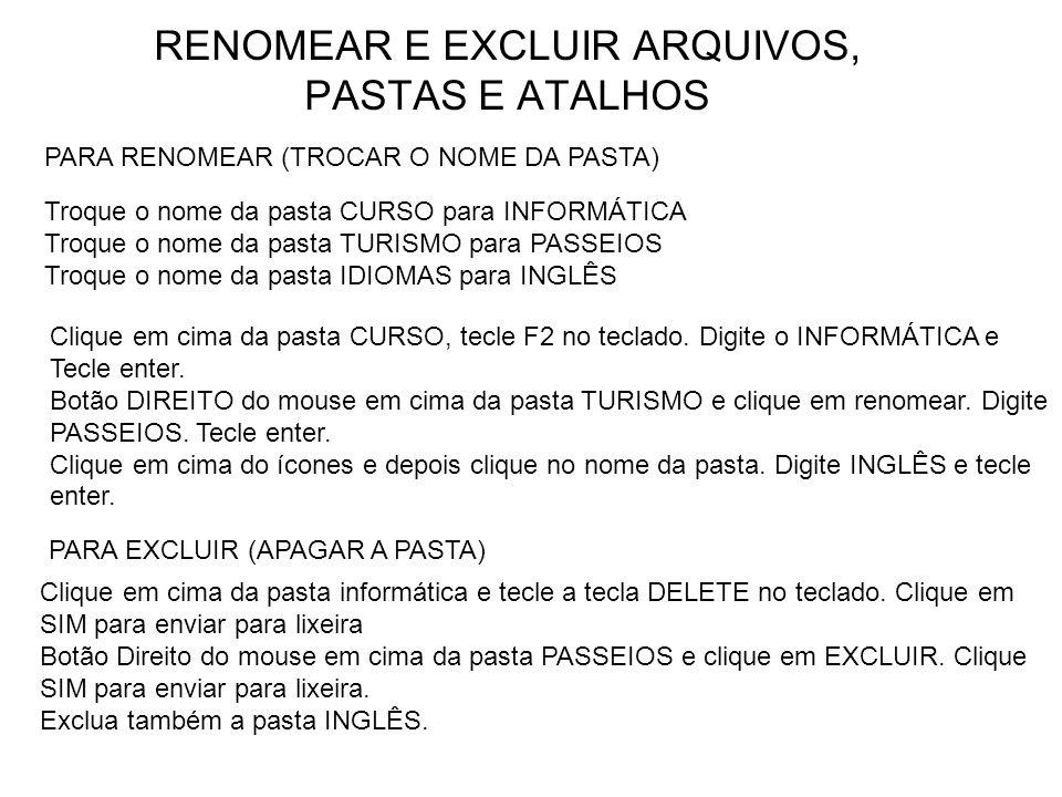 RENOMEAR E EXCLUIR ARQUIVOS, PASTAS E ATALHOS
