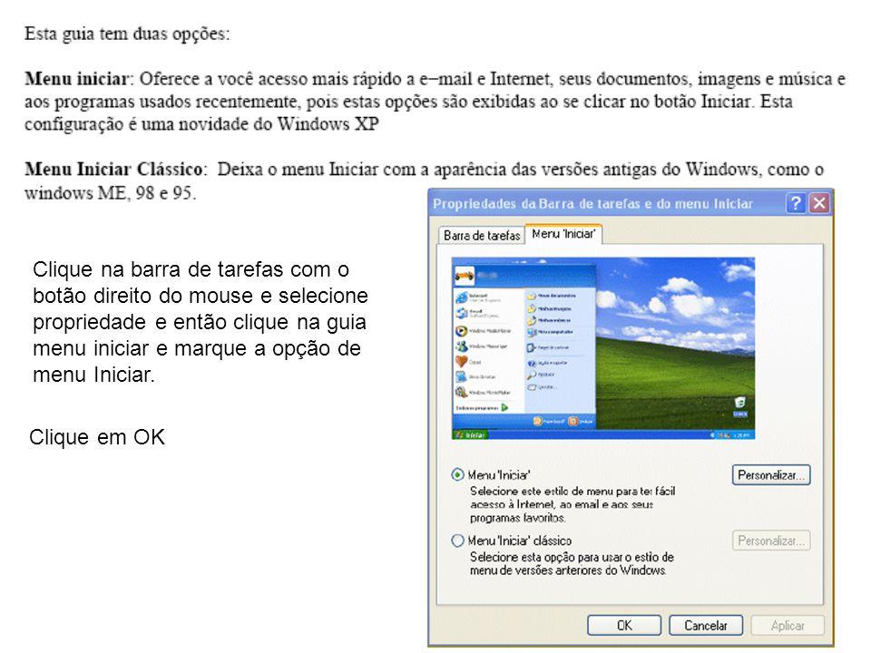Clique na barra de tarefas com o botão direito do mouse e selecione propriedade e então clique na guia menu iniciar e marque a opção de menu Iniciar.