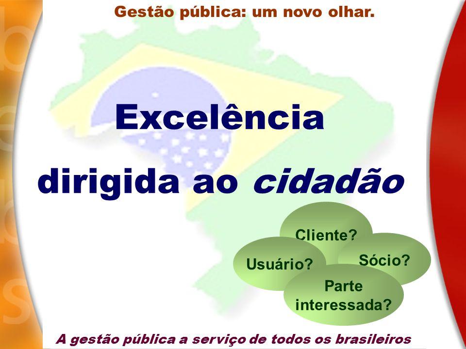 Excelência dirigida ao cidadão Gestão pública: um novo olhar. Cliente