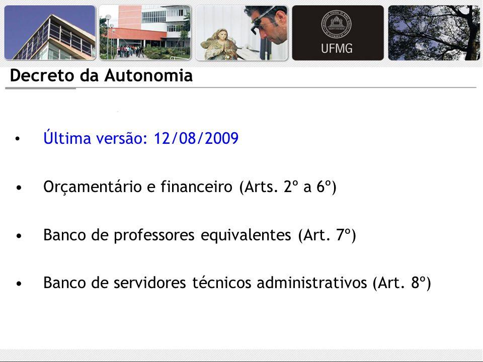 Decreto da Autonomia Última versão: 12/08/2009. Orçamentário e financeiro (Arts. 2º a 6º) Banco de professores equivalentes (Art. 7º)