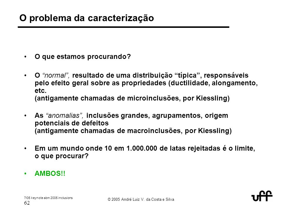 O problema da caracterização