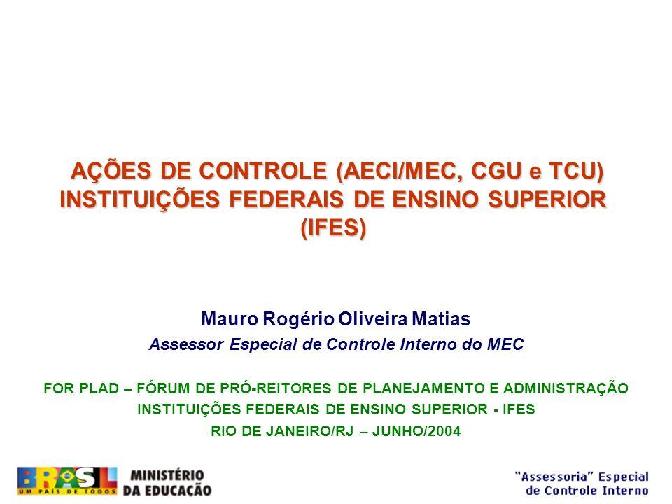 AÇÕES DE CONTROLE (AECI/MEC, CGU e TCU)
