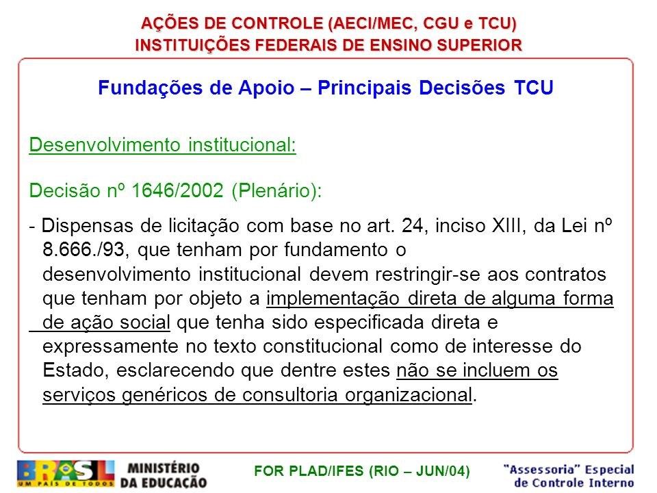 Fundações de Apoio – Principais Decisões TCU