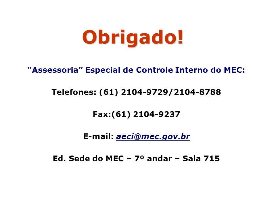 Obrigado! Assessoria Especial de Controle Interno do MEC: