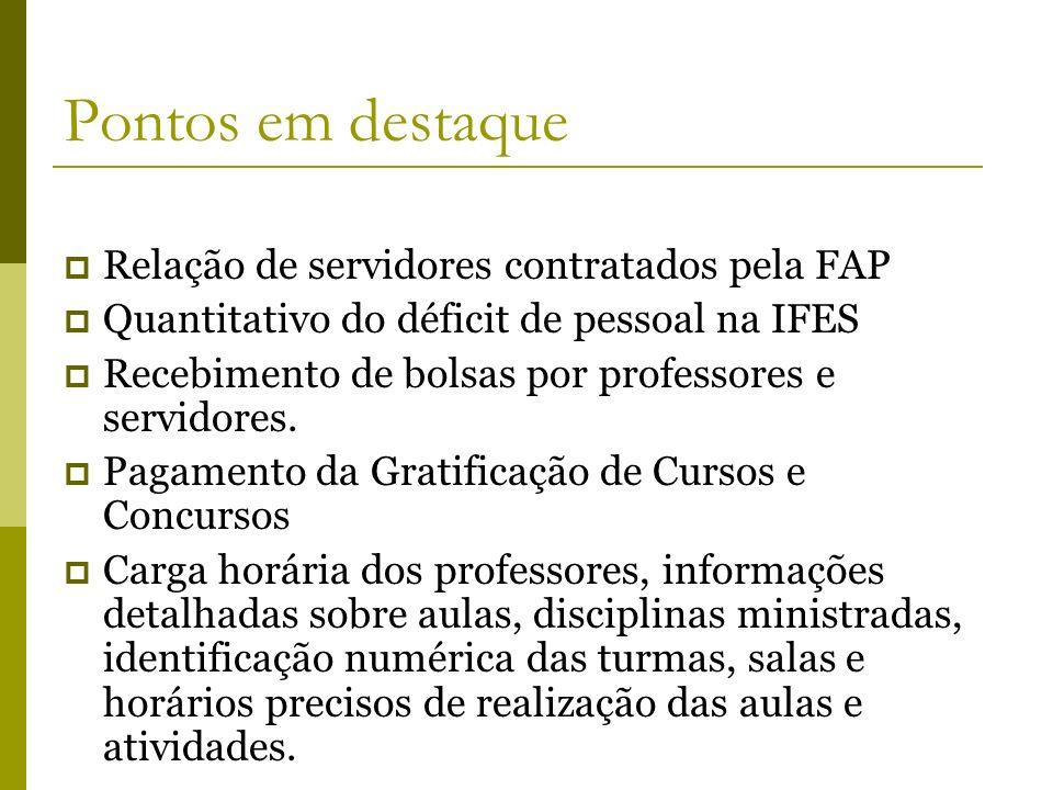 Pontos em destaque Relação de servidores contratados pela FAP