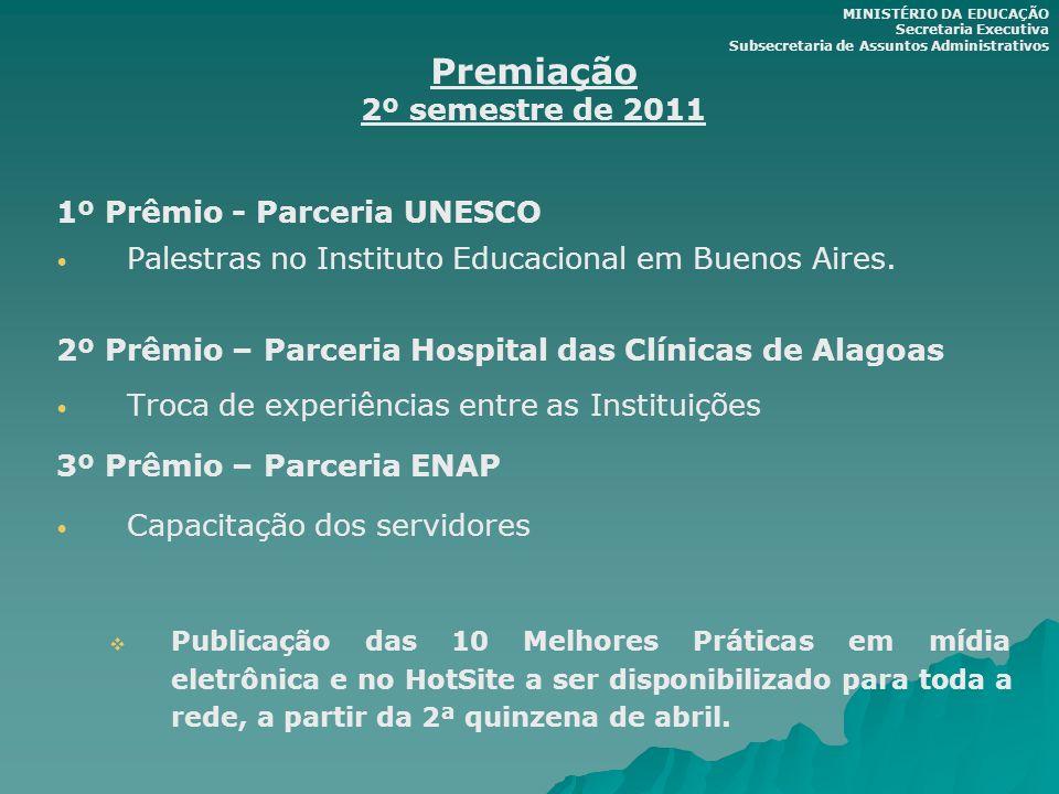 Premiação 2º semestre de 2011 1º Prêmio - Parceria UNESCO