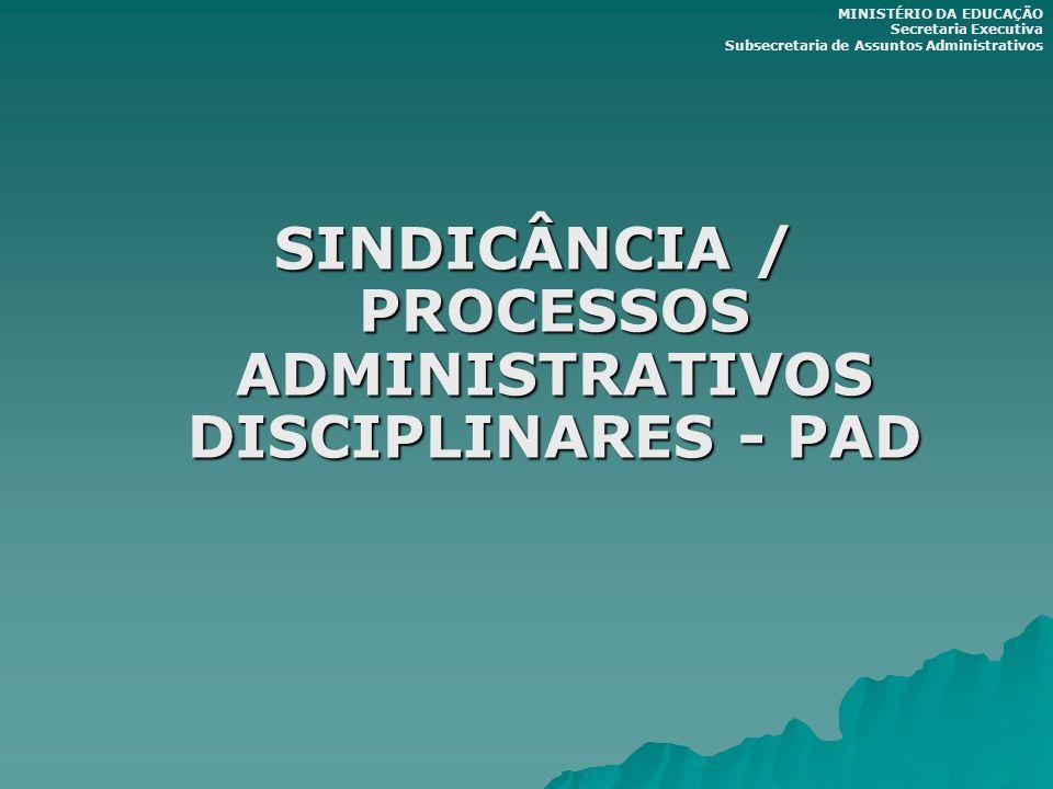SINDICÂNCIA / PROCESSOS ADMINISTRATIVOS DISCIPLINARES - PAD