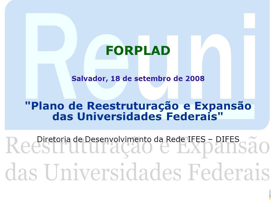 FORPLAD Salvador, 18 de setembro de 2008. Plano de Reestruturação e Expansão das Universidades Federais